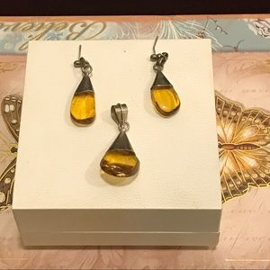 Amber Pierce Earring and Pendant in Silver